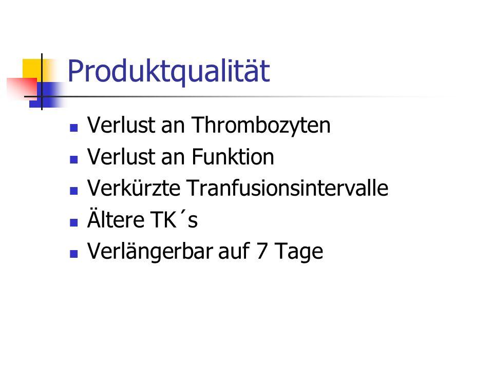 Produktqualität Verlust an Thrombozyten Verlust an Funktion