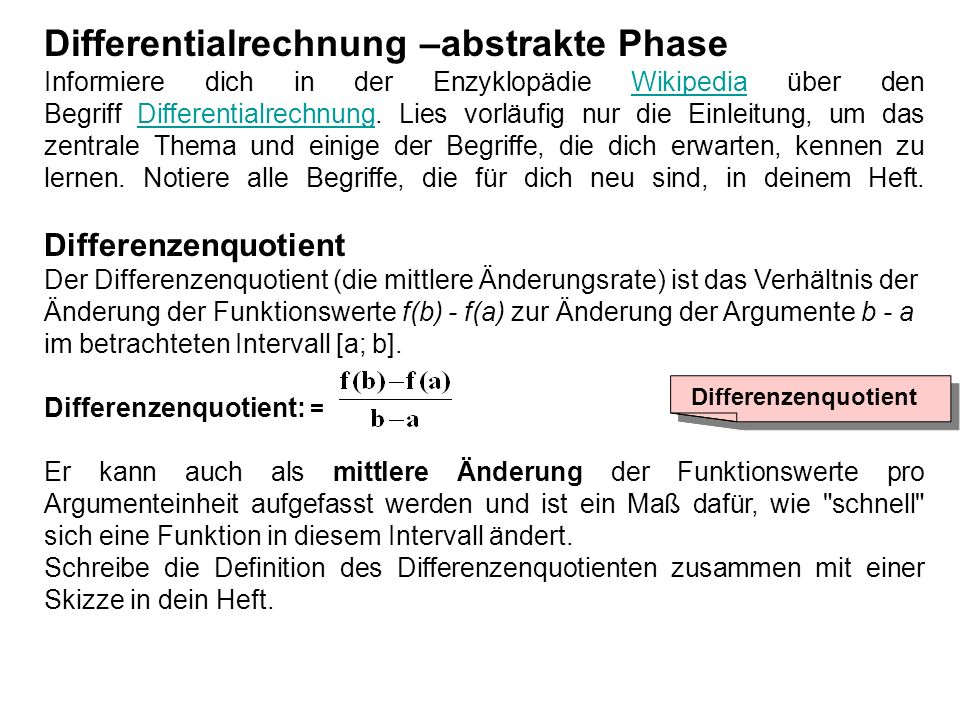 Differentialrechnung –abstrakte Phase