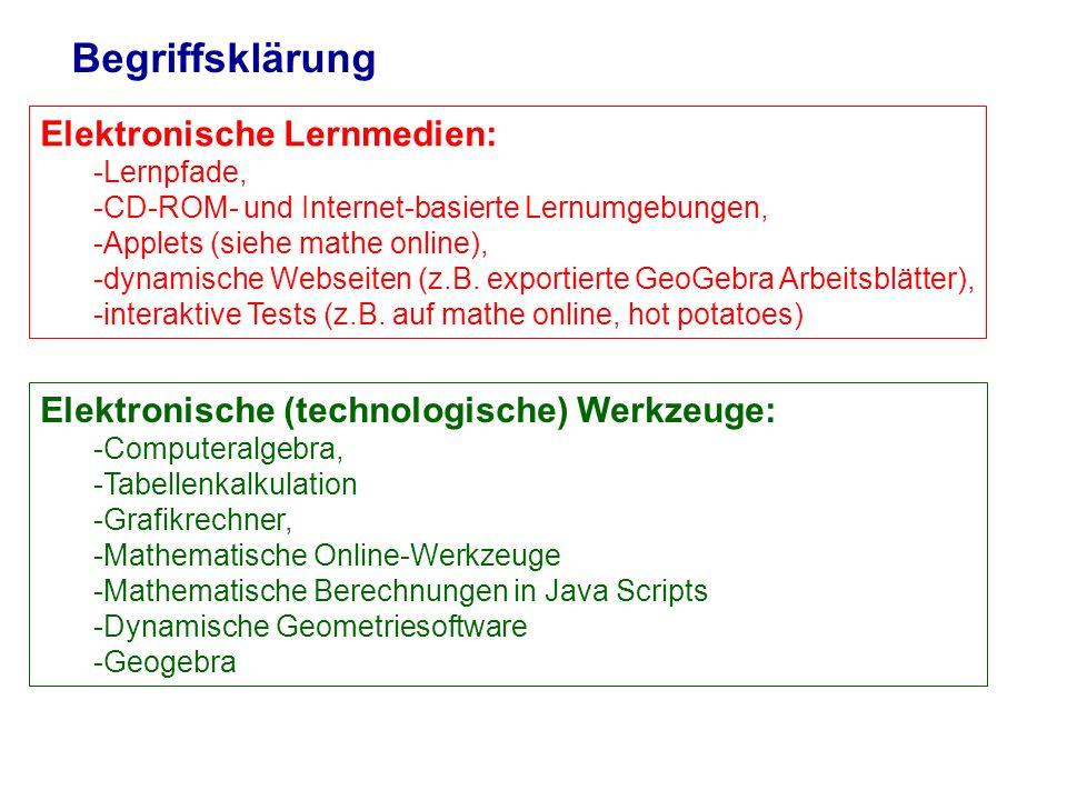 Begriffsklärung Elektronische Lernmedien: