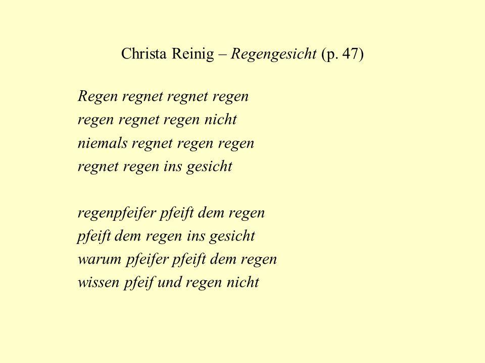 Christa Reinig – Regengesicht (p. 47)