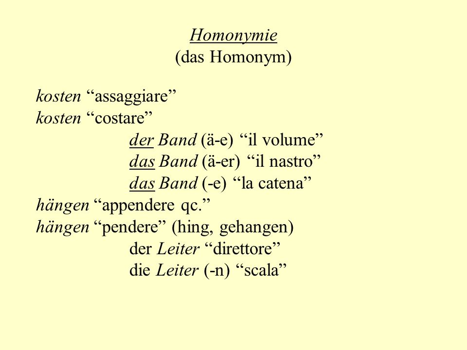 Homonymie (das Homonym)