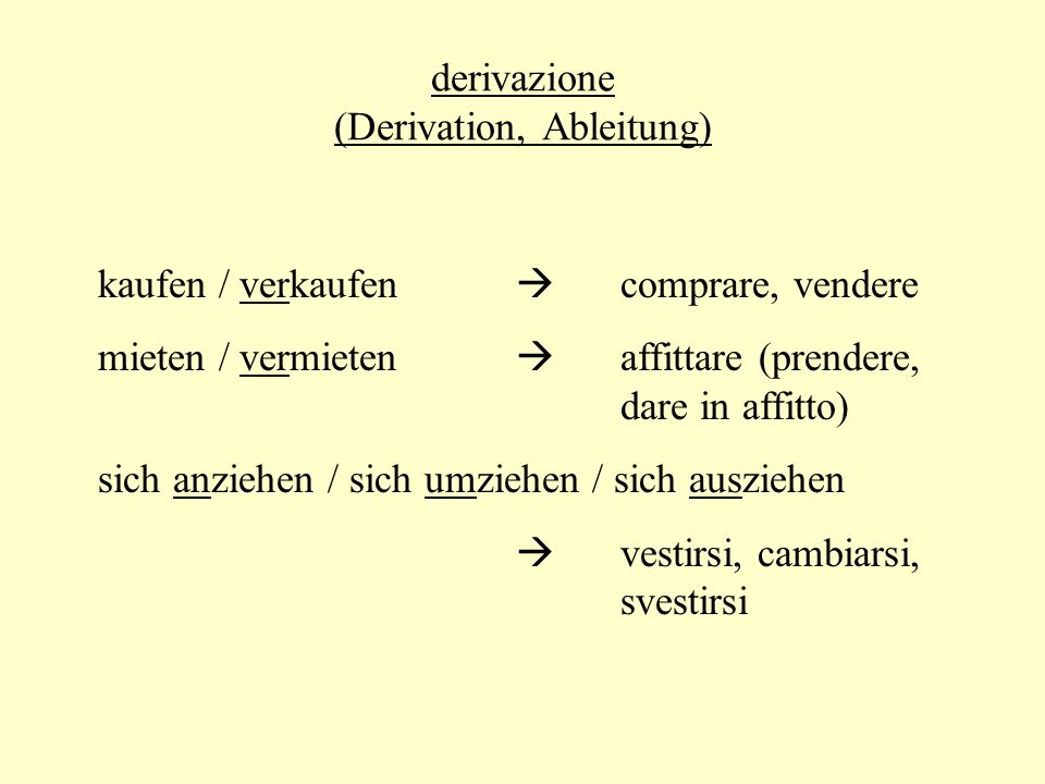 derivazione (Derivation, Ableitung)