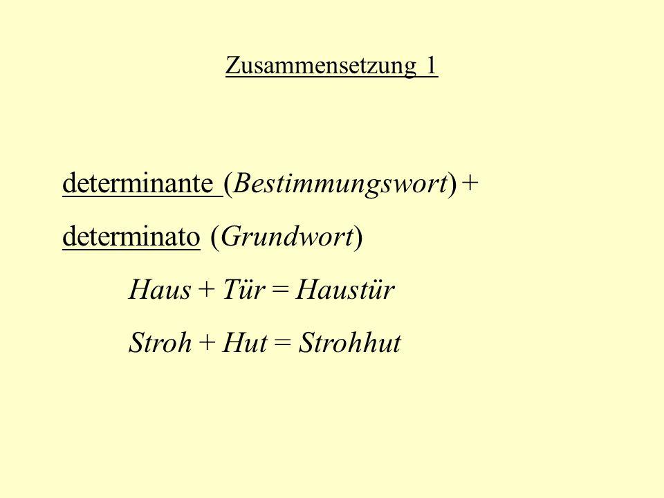 determinante (Bestimmungswort) + determinato (Grundwort)