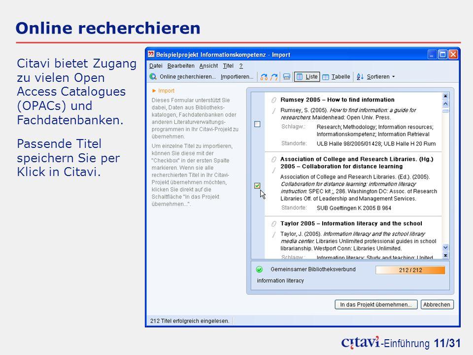 Online recherchieren Citavi bietet Zugang zu vielen Open