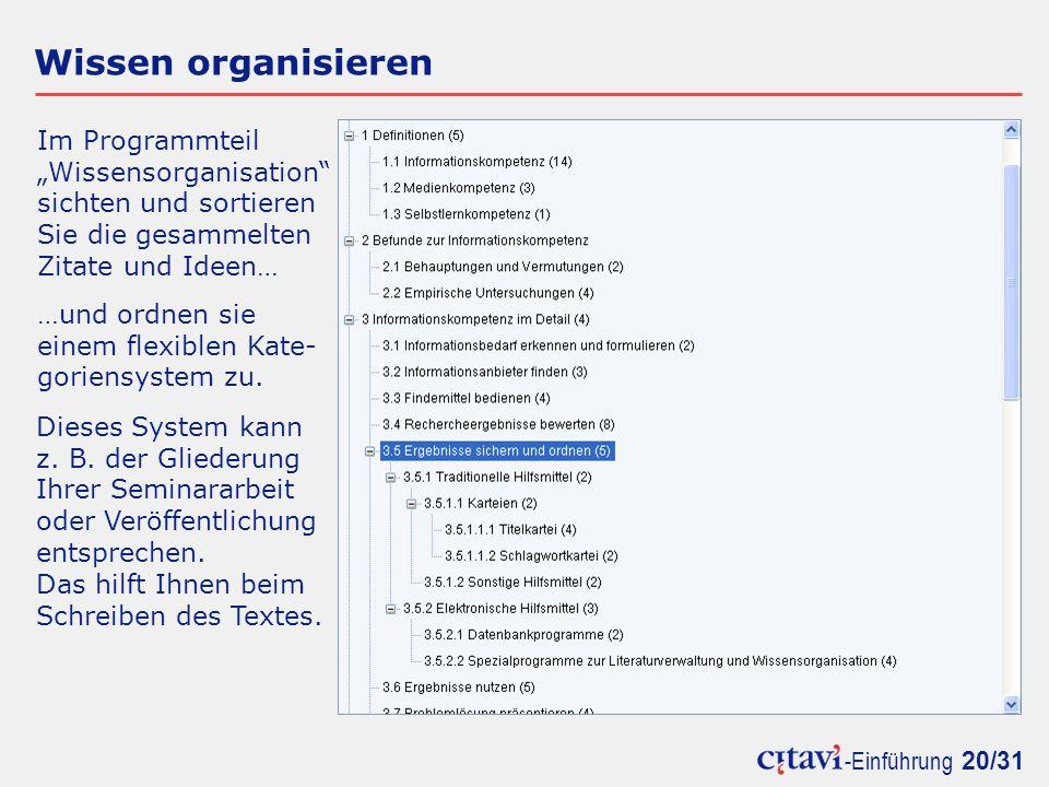 """Wissen organisieren Im Programmteil """"Wissensorganisation"""