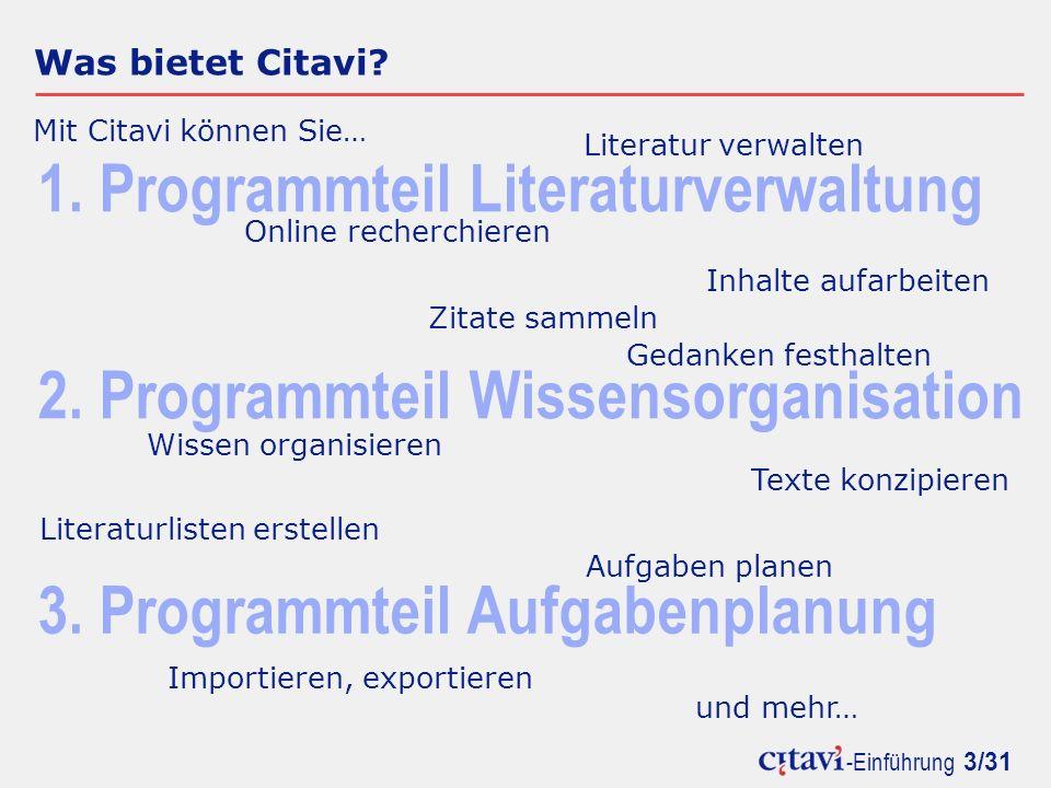 1. Programmteil Literaturverwaltung