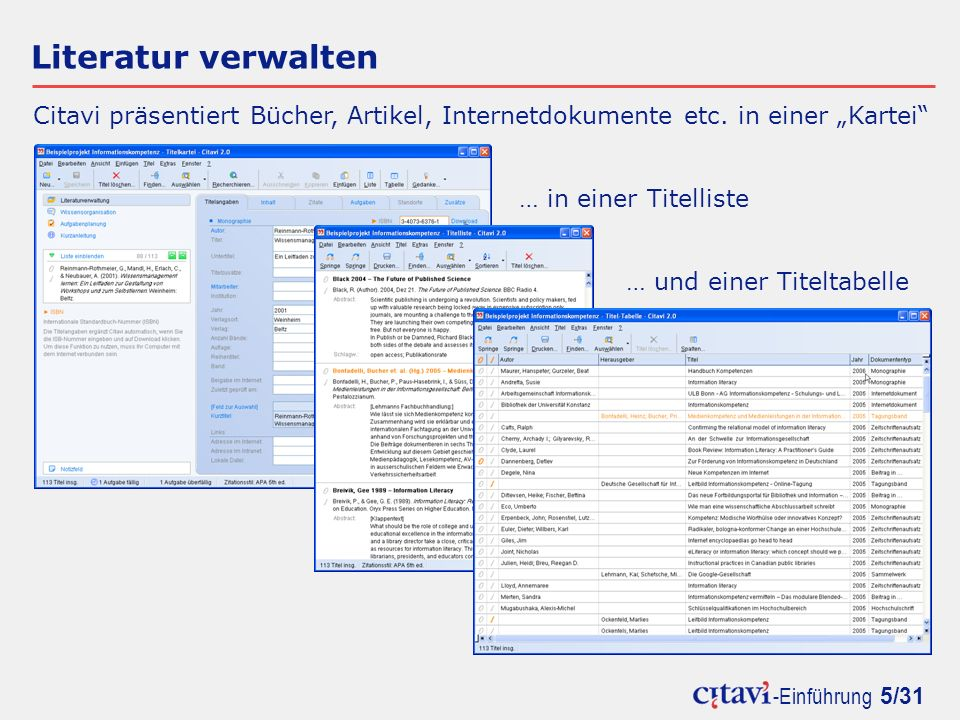"""Literatur verwalten Citavi präsentiert Bücher, Artikel, Internetdokumente etc. in einer """"Kartei … in einer Titelliste."""