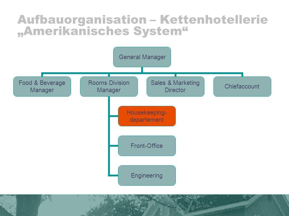 """Aufbauorganisation – Kettenhotellerie """"Amerikanisches System"""