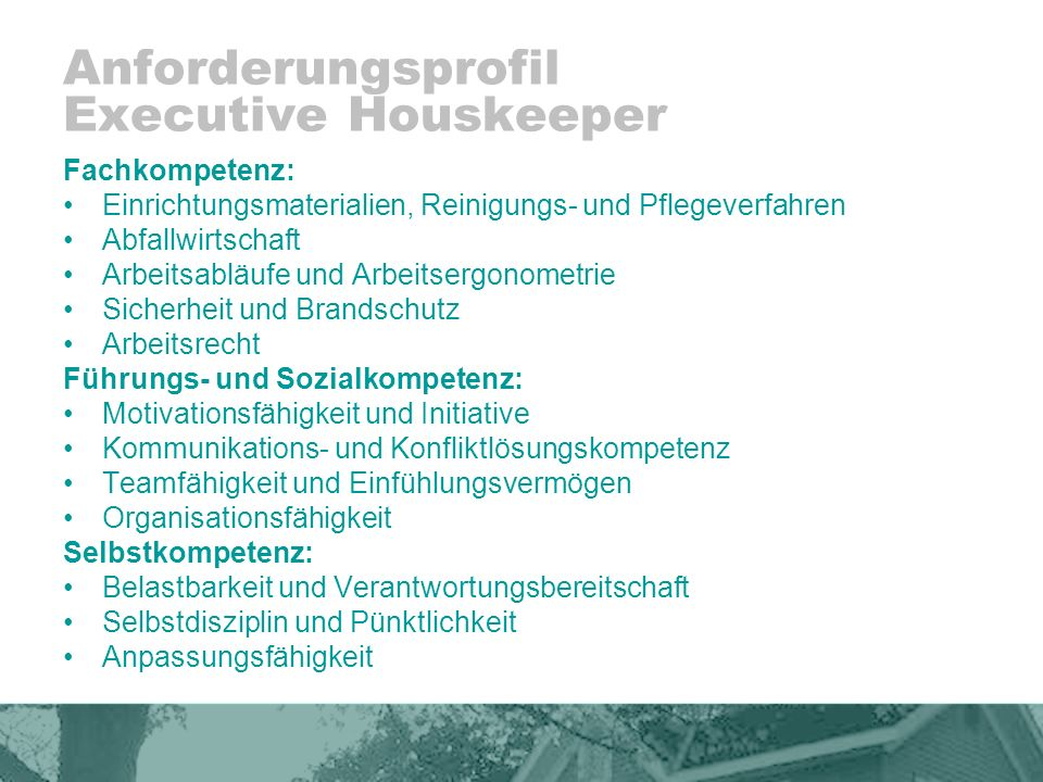 Anforderungsprofil Executive Houskeeper