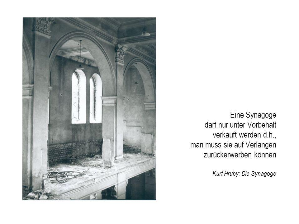 Eine Synagoge darf nur unter Vorbehalt verkauft werden d. h