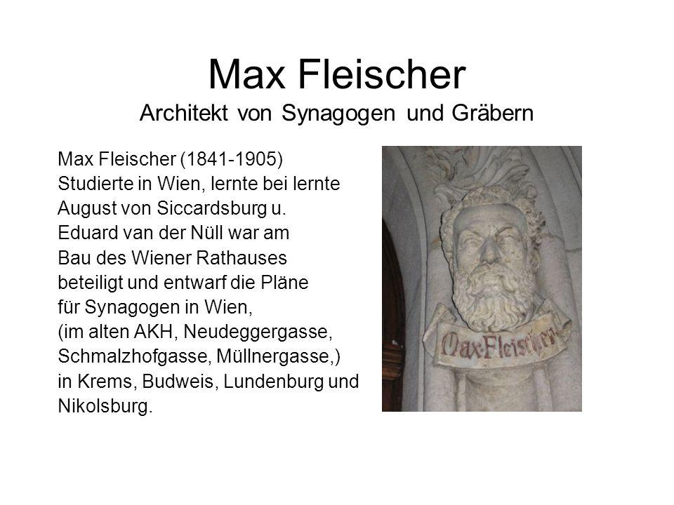 Max Fleischer Architekt von Synagogen und Gräbern