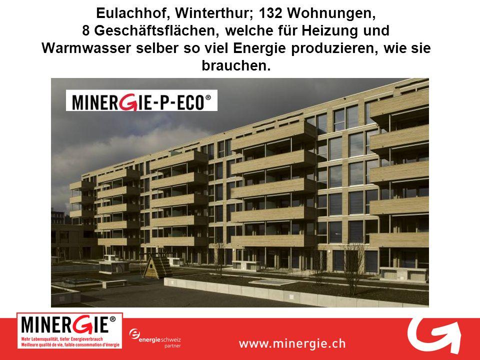 Eulachhof, Winterthur; 132 Wohnungen, 8 Geschäftsflächen, welche für Heizung und Warmwasser selber so viel Energie produzieren, wie sie brauchen.