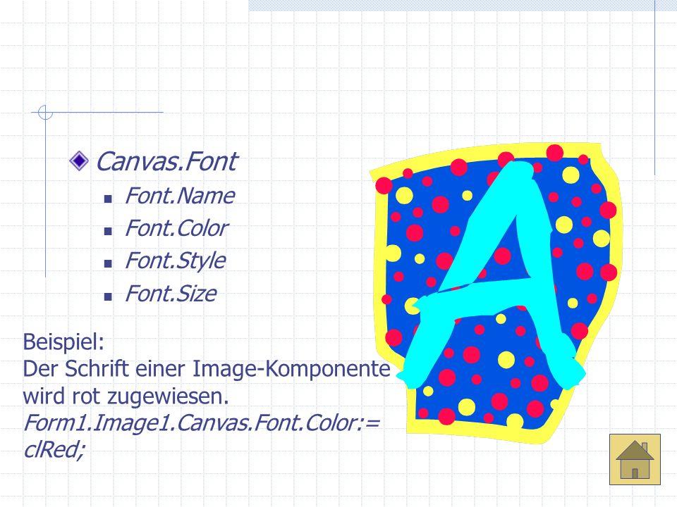 Canvas.Font Font.Name Font.Color Font.Style Font.Size Beispiel:
