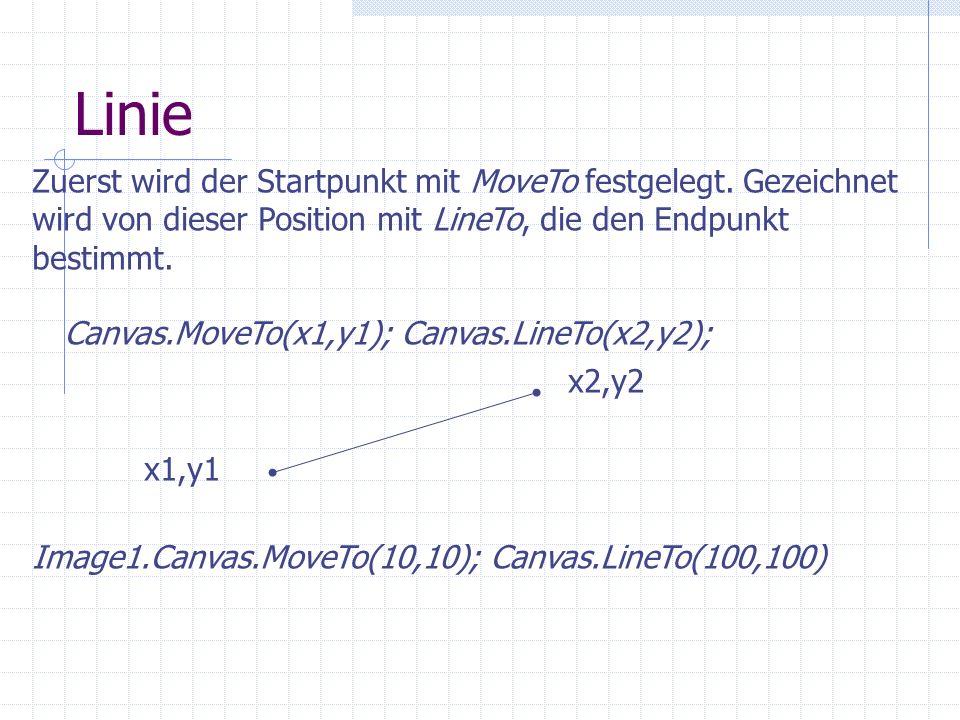 Linie Zuerst wird der Startpunkt mit MoveTo festgelegt. Gezeichnet