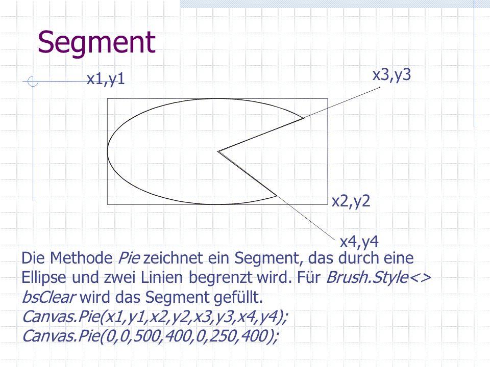 Segment x3,y3. x1,y1. x2,y2. x4,y4. Die Methode Pie zeichnet ein Segment, das durch eine.