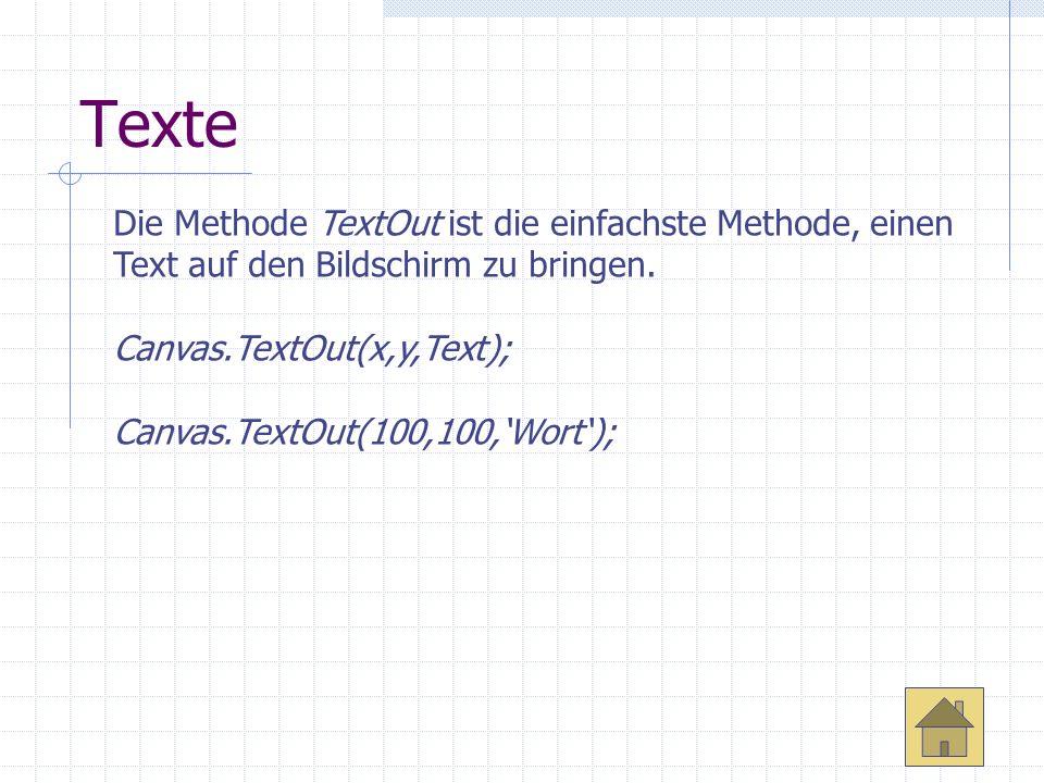 Texte Die Methode TextOut ist die einfachste Methode, einen