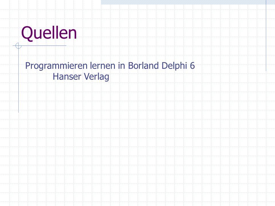 Quellen Programmieren lernen in Borland Delphi 6 Hanser Verlag