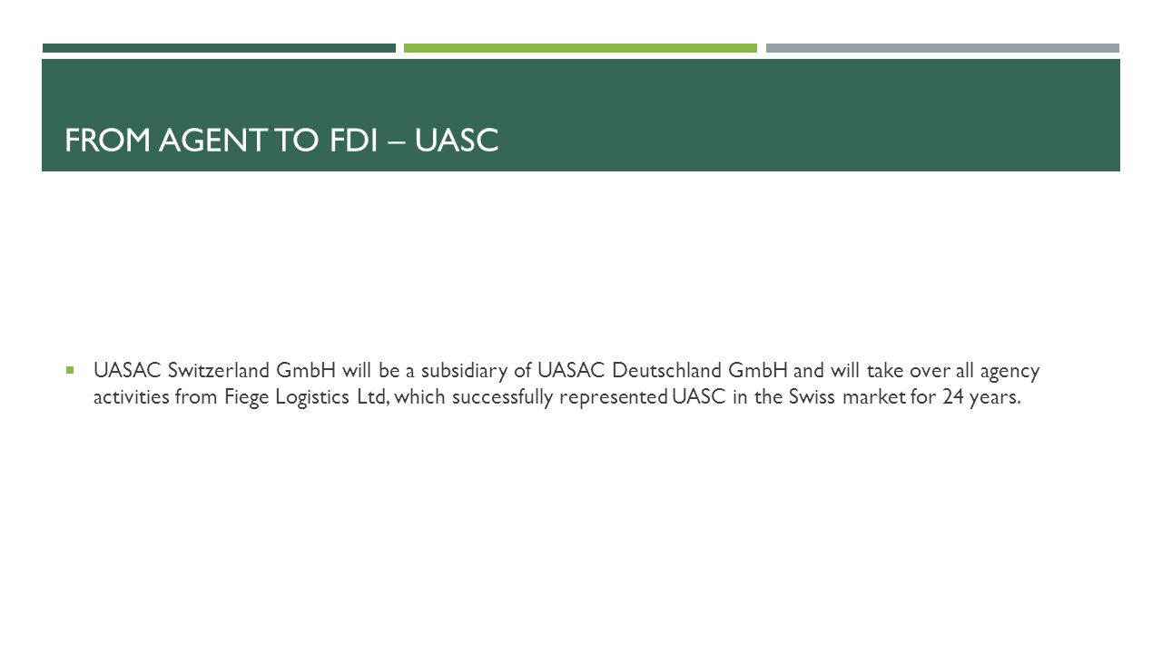 From agent to fdi – UASC