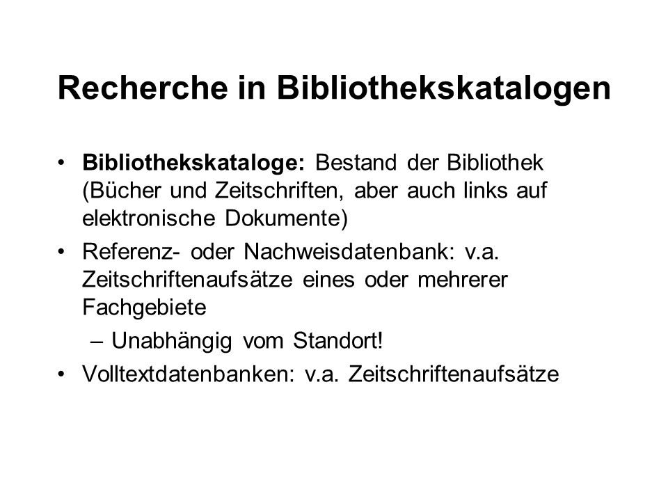 Recherche in Bibliothekskatalogen