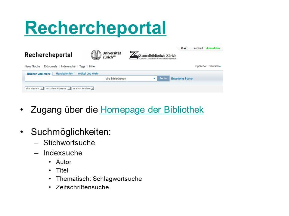 Rechercheportal Zugang über die Homepage der Bibliothek