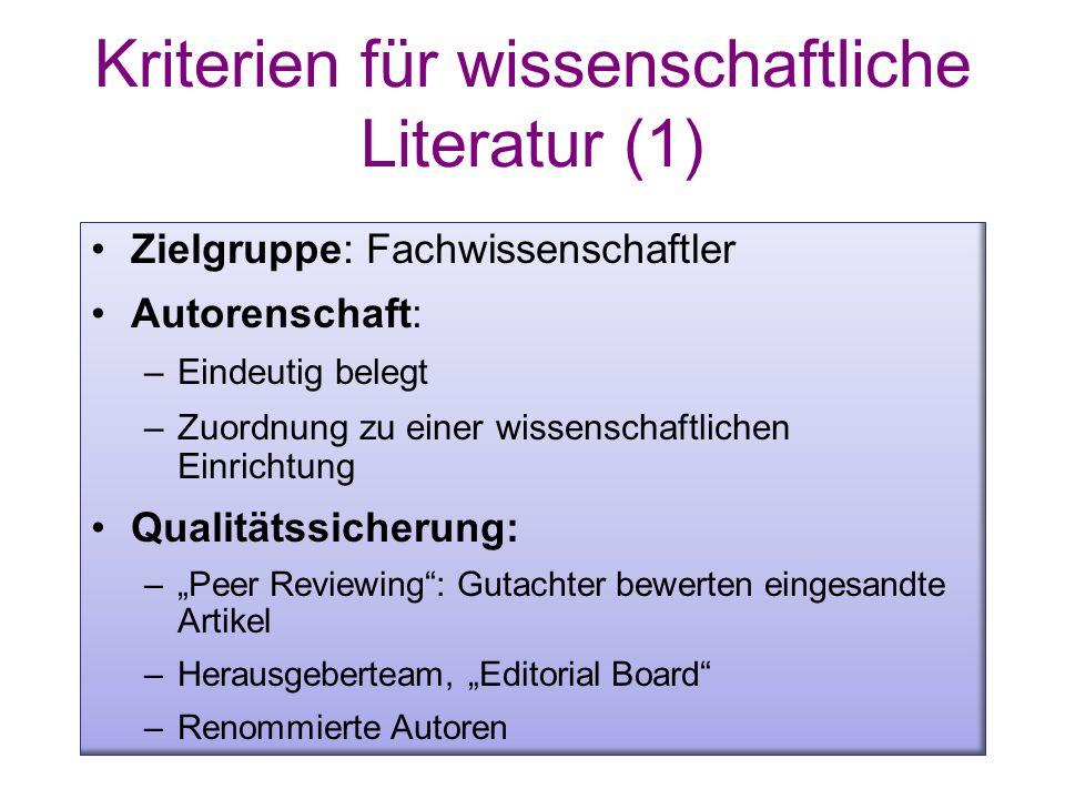 Kriterien für wissenschaftliche Literatur (1)
