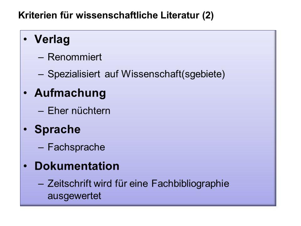 Verlag Aufmachung Sprache Dokumentation Renommiert