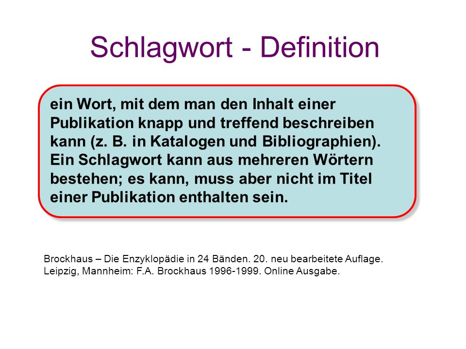 Schlagwort - Definition