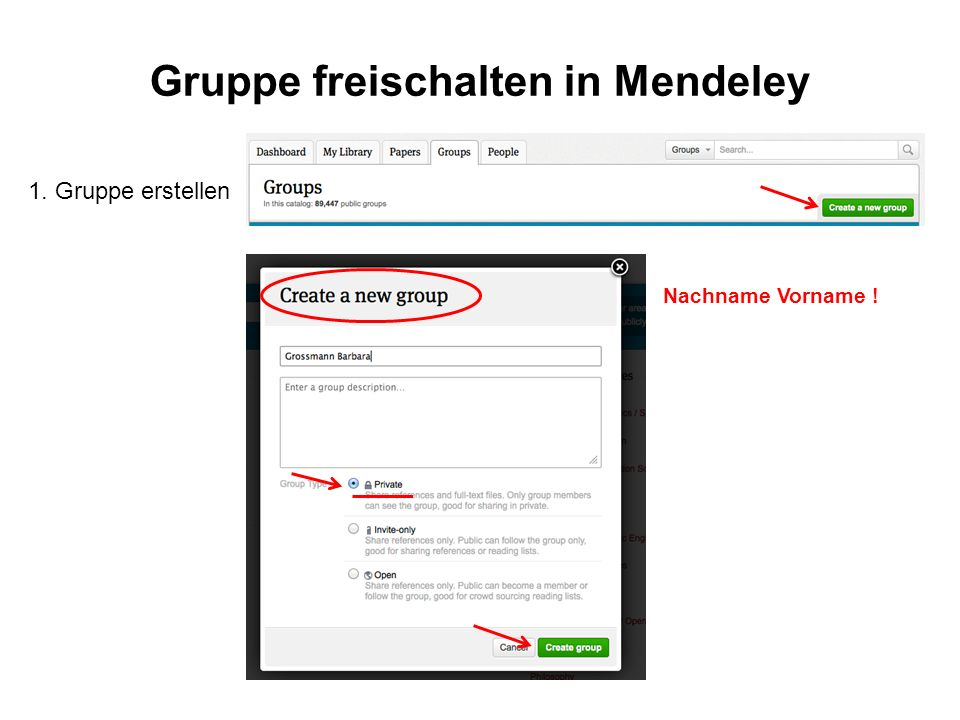Gruppe freischalten in Mendeley