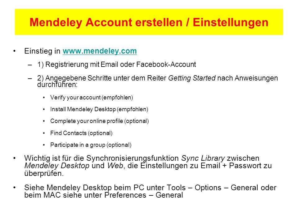 Mendeley Account erstellen / Einstellungen