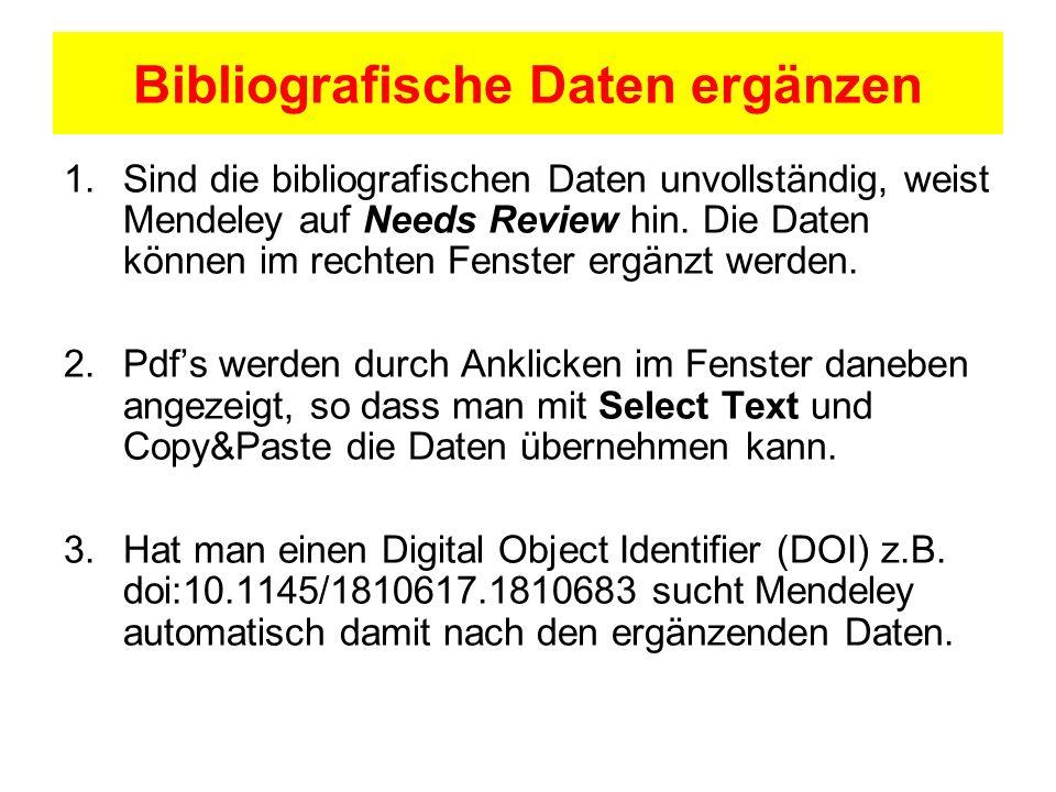 Bibliografische Daten ergänzen
