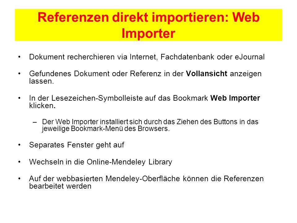Referenzen direkt importieren: Web Importer