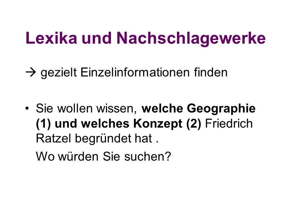Lexika und Nachschlagewerke