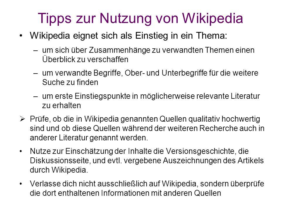 Tipps zur Nutzung von Wikipedia