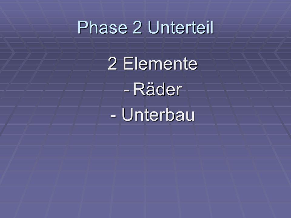 Phase 2 Unterteil 2 Elemente - Räder - Unterbau
