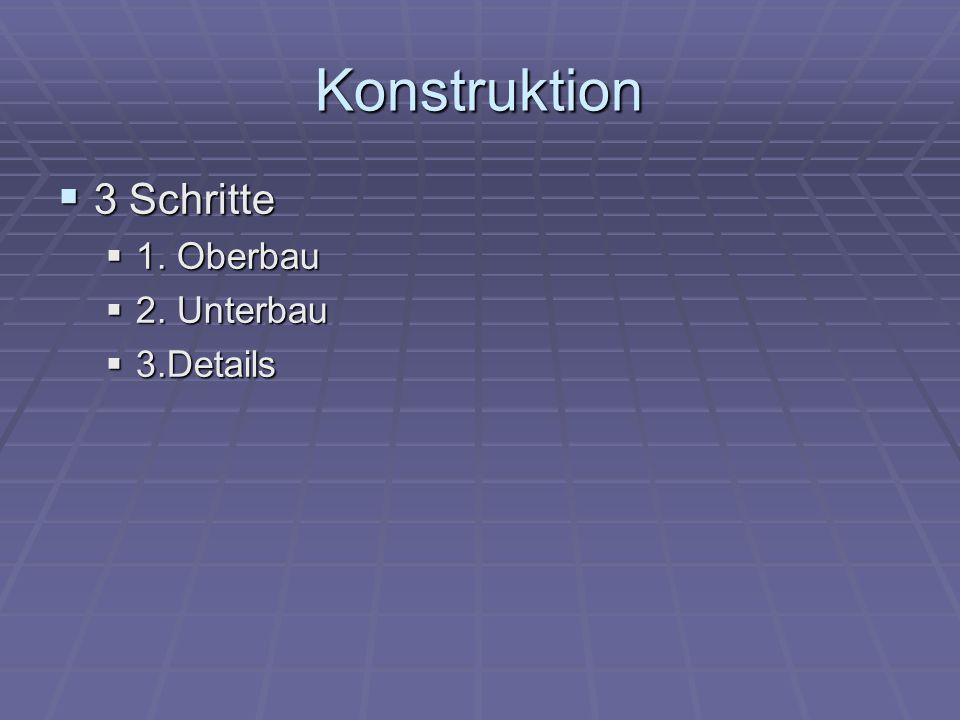 Konstruktion 3 Schritte 1. Oberbau 2. Unterbau 3.Details