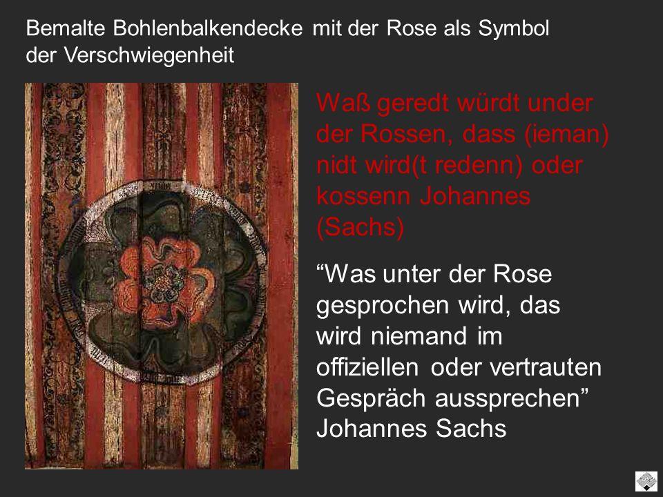 Bemalte Bohlenbalkendecke mit der Rose als Symbol