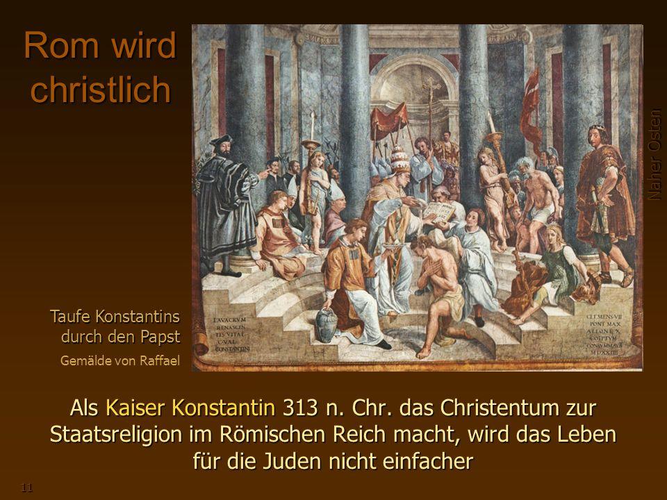 Rom wird christlich Taufe Konstantins durch den Papst. Gemälde von Raffael.