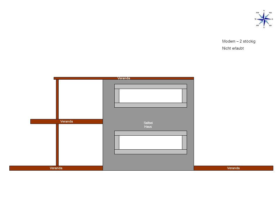 Modern – 2 stöckig Nicht erlaubt Veranda Salbei Haus Veranda Veranda