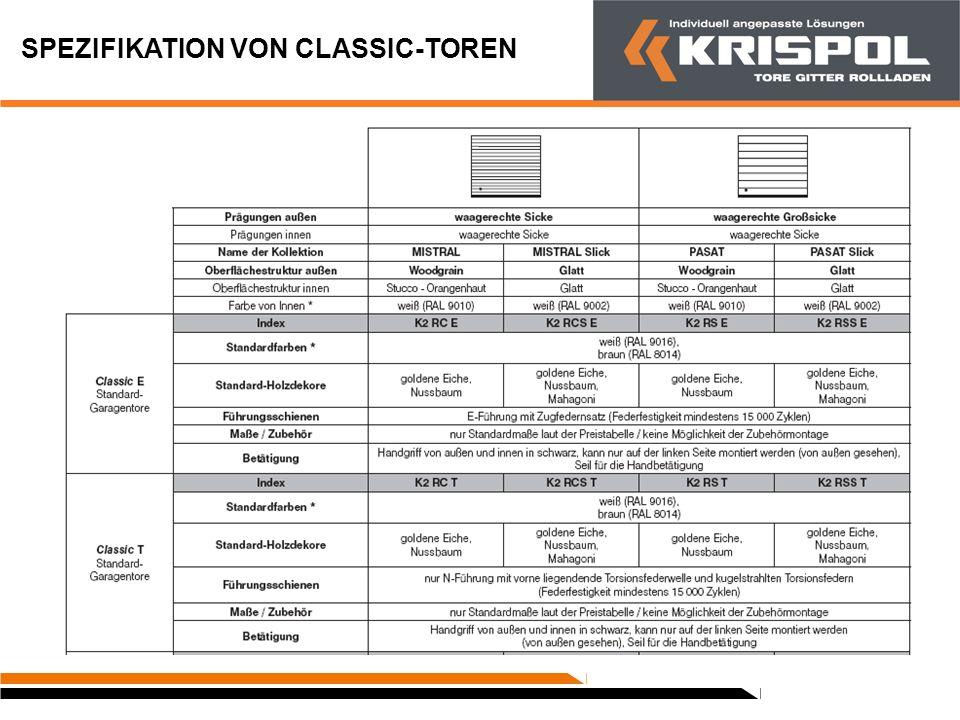 SPEZIFIKATION VON CLASSIC-TOREN