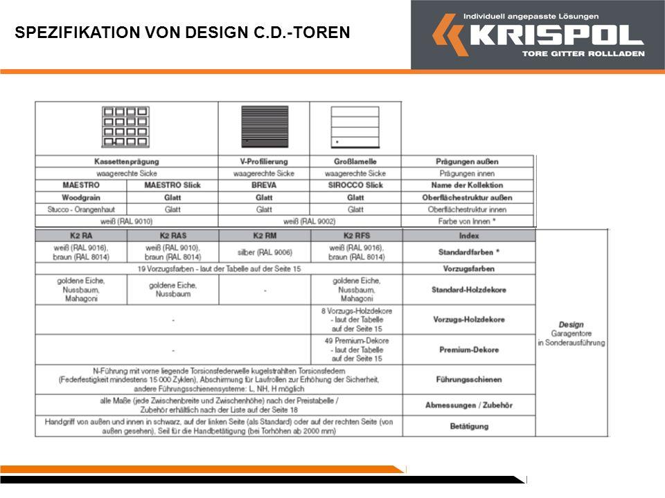 SPEZIFIKATION VON DESIGN C.D.-TOREN