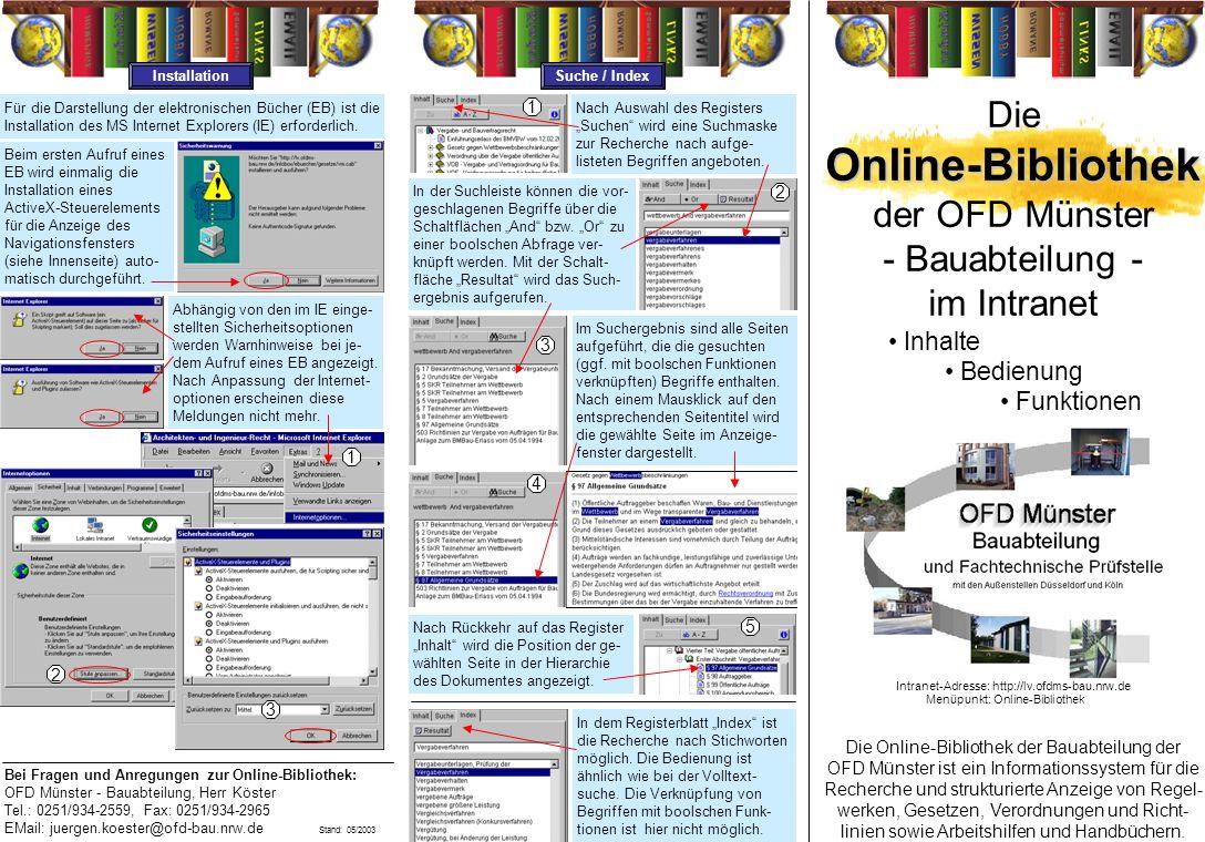 Online-Bibliothek Die der OFD Münster - Bauabteilung - im Intranet