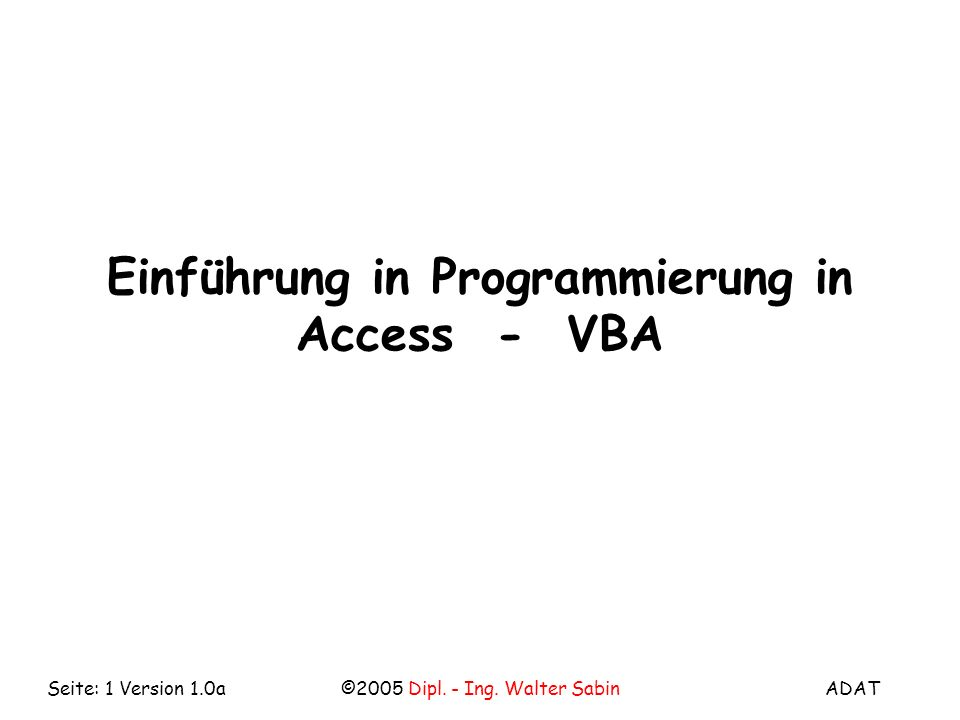 Einführung in Programmierung in Access - VBA