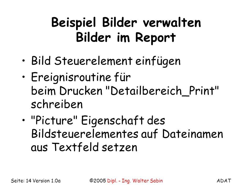 Beispiel Bilder verwalten Bilder im Report