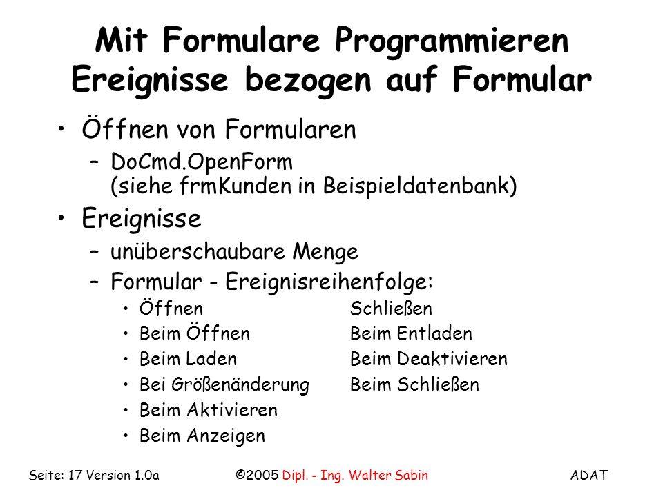 Mit Formulare Programmieren Ereignisse bezogen auf Formular