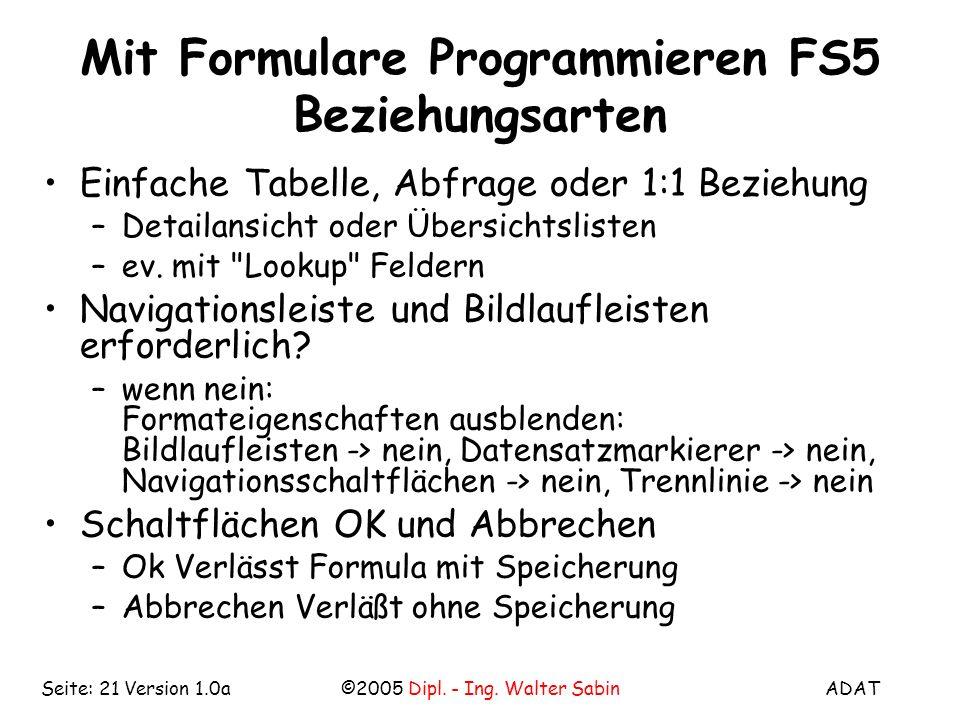 Mit Formulare Programmieren FS5 Beziehungsarten