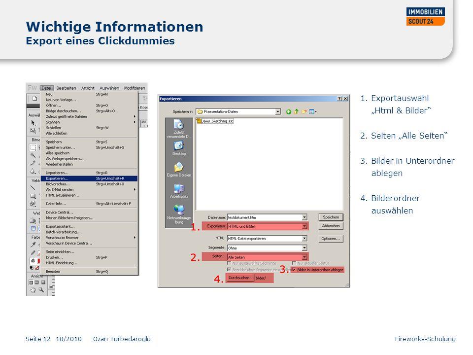 Wichtige Informationen Export eines Clickdummies