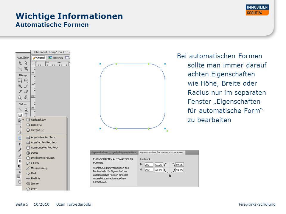 Wichtige Informationen Automatische Formen