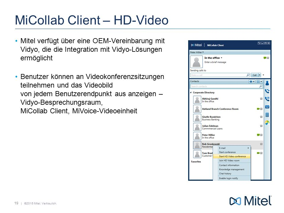 MiCollab Client – HD-Video
