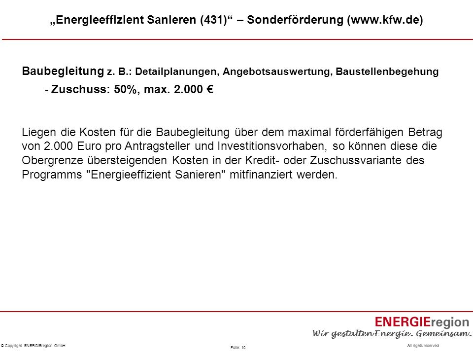 """""""Energieeffizient Sanieren (431) – Sonderförderung (www.kfw.de)"""