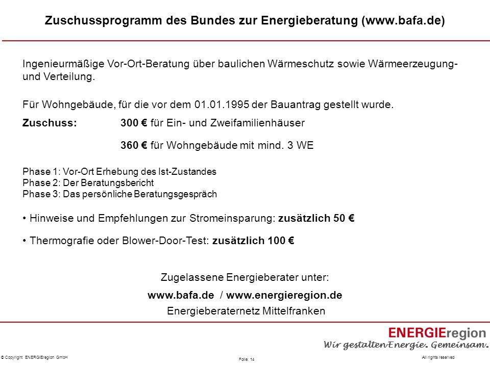 Zuschussprogramm des Bundes zur Energieberatung (www.bafa.de)